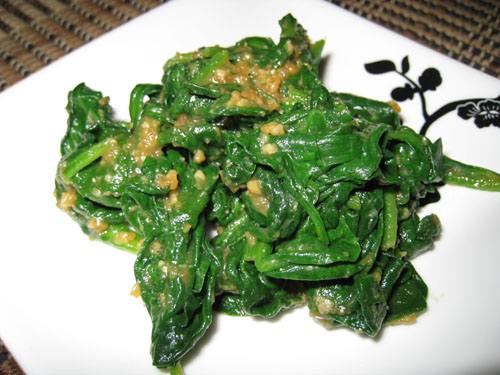 Spinach with Miso and Mustard Sauce