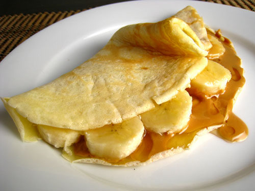 Peanut Butter, Banana and Honey Crepes