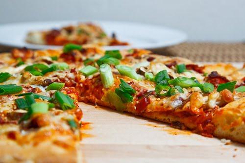 Kimchi, Bacon and Shiitake Mushroom Pizza