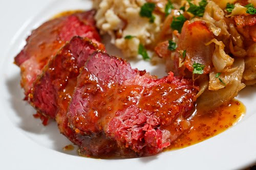 Apricot Glazed Corned Beef with Sauteed Cabbage and Colcannon
