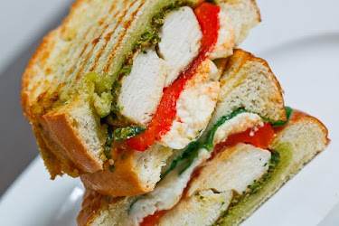 Chicken and Roasted Red Pepper Panini with Cilantro Pesto and Feta
