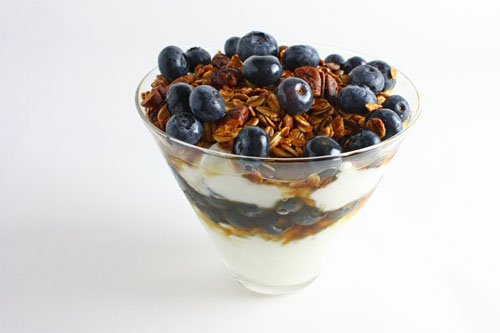 Blueberry and Maple Pecan Granola Parfait with Cottage Cheese