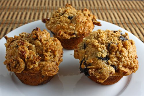 Blueberry Maple Oatmeal Muffins with Pecan Streusel