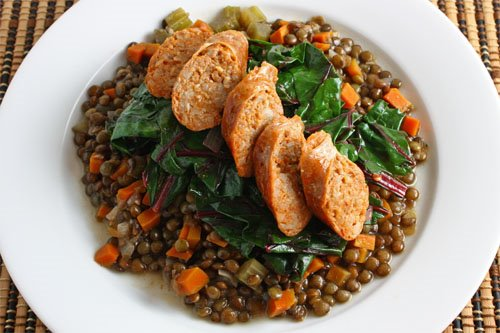 Sausage on Lentils and Greens