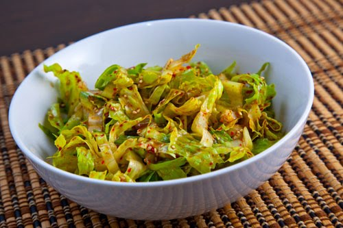 Shredded Romaine in a Korean Sesame Vinaigrette