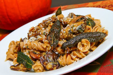 Pumpkin and Mushroom Pasta with Gorgonzola