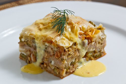 Asparagus and Walnut Phyllo Pie (aka Asparagus Baklava) with Avgolemono Sauce