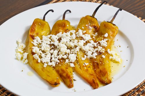 Grilled Banana Pepper and Feta Salad