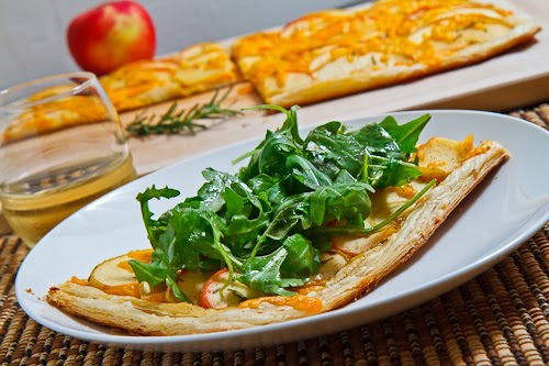 Apple and Cheddar Tart topped with Arugula