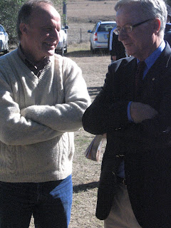 Graeme Cordiner of Sydney Friends of Myall Creek chats with Fred Chaney