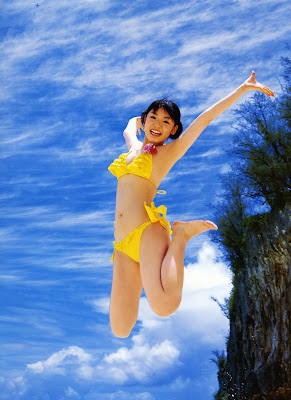 Sayumi Michishige Asian Girl Idol with her sexy yellow bikini