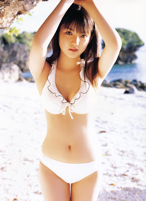 Sayumi Michishige Asian Girl Idol with her white bikini