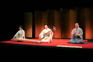 Akiko Fujii (center) performing jiuta.