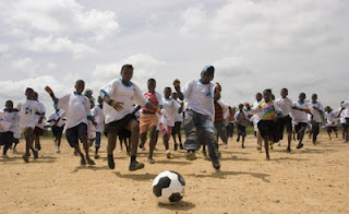 Liberian children enjoy the game