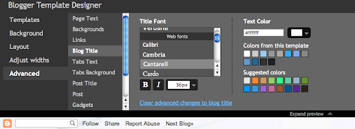 Blogger in Draft Web Fonts