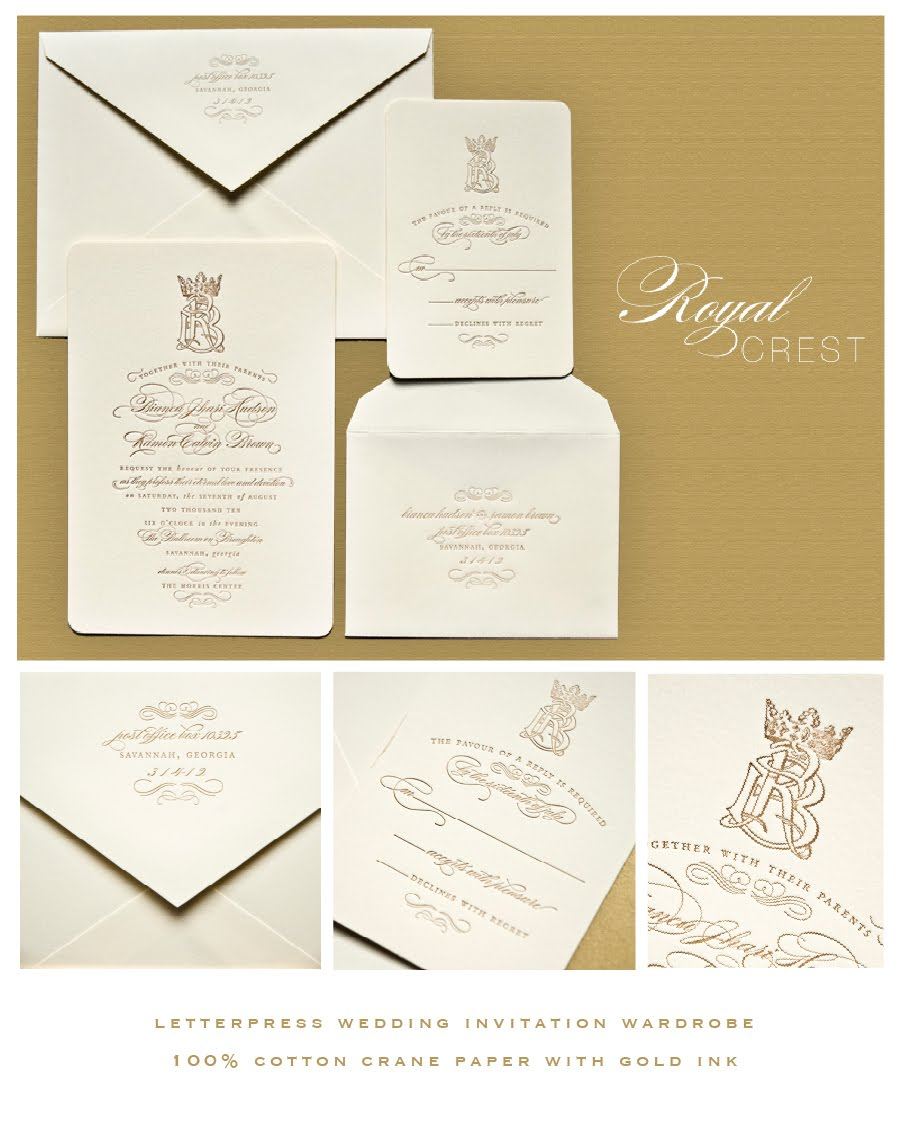 Crown Themed Wedding Invitations In Letterpress Savannah Georgia