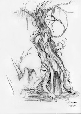 creepy spooky tree sketch