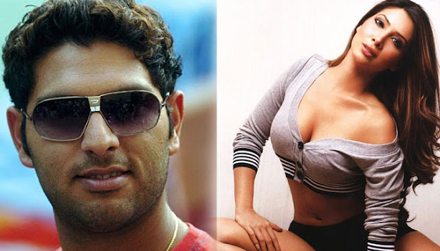 Yuvaraj and Kim Sharma