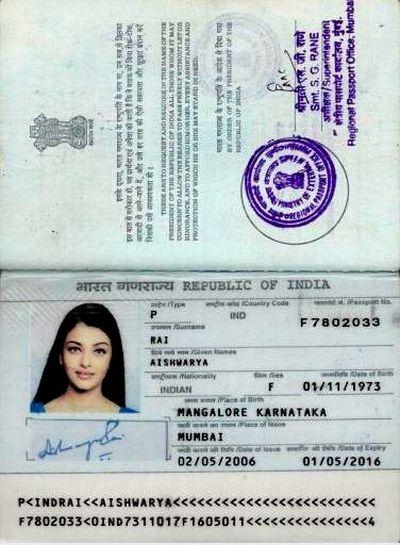 Aishwarya Rai's Passport on the Internet