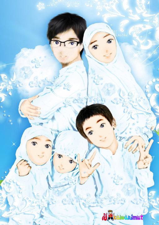 93 Gambar Kartun Keluarga Muslim Bahagia Cikimm Com