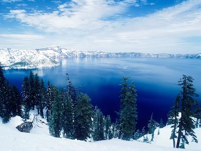 nature winter lakes landscape