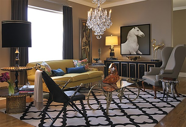 I Love The Yellow With This Mid Century Room In Taupe Grey And Black Gold Accents