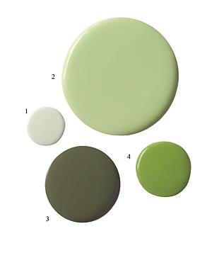 1 Seagr Ralph Lauren 2 Lovely Green Valspar 3 Minster Farrow And Ball 4 Spring Meadow Benjamin Moore