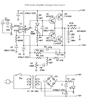 kardus: Audio Amplifier 10W with bass-boost