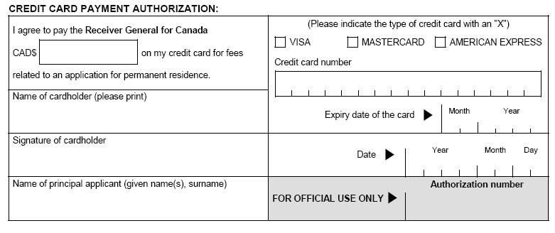 Canada Visa 101 Credit Card Payment For Visa Processing