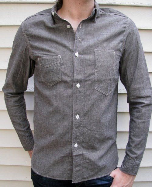c5b6c4b5a9b Sunny Sports 40 s chambray works shirts feature the sturdy selvedge chambray  fabric and the vintage work shirt design inspired by 1940 s USA.