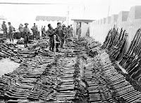 Soldiers Examine Captured Weapons after war 1971 Bangladesh