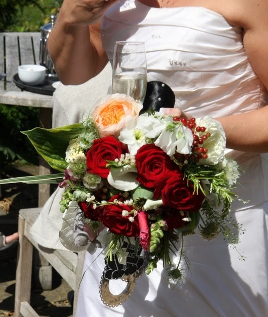 The Flower Magician: Poppy Red & Ivory Wedding Bouquet