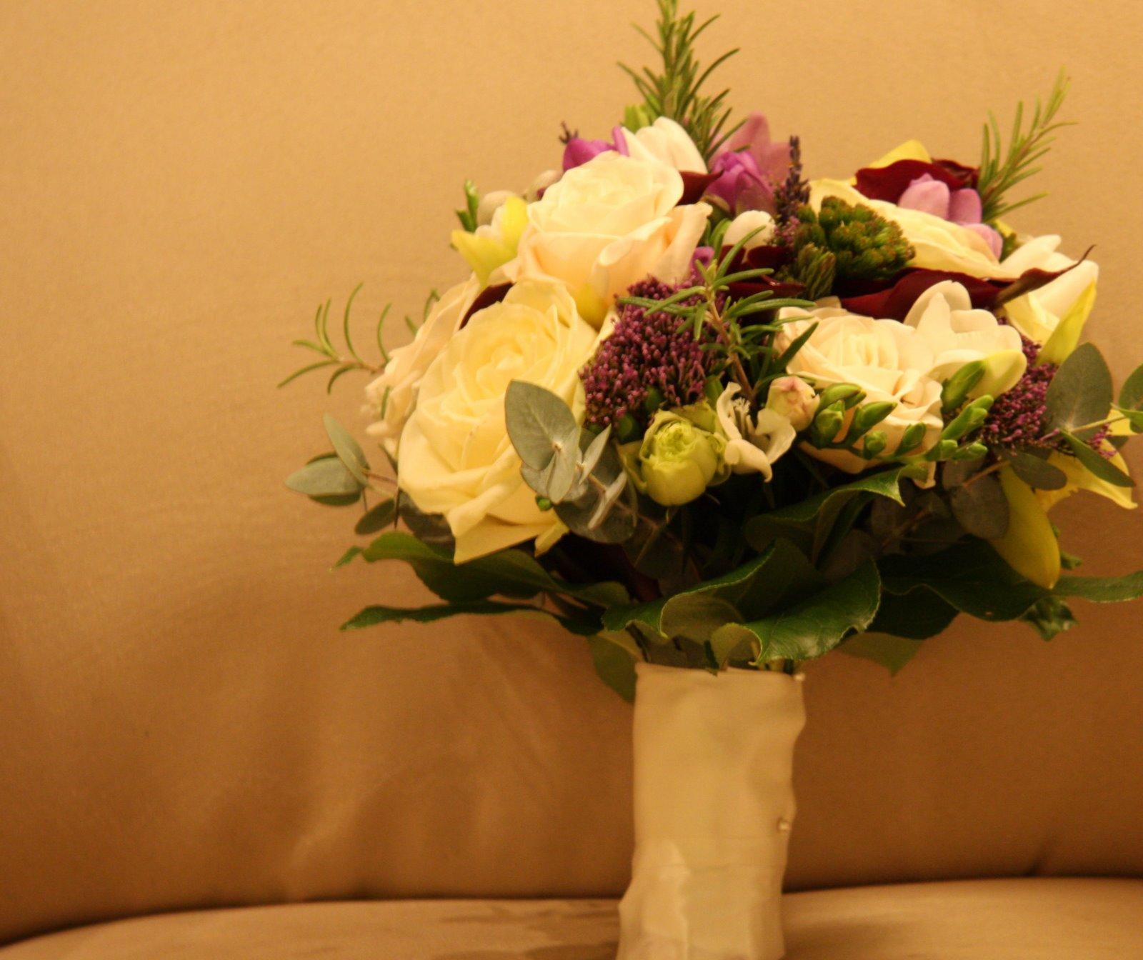 Wedding Flowers Lancashire: The Flower Magician: Cream & Purple Spring Wedding Bouquet