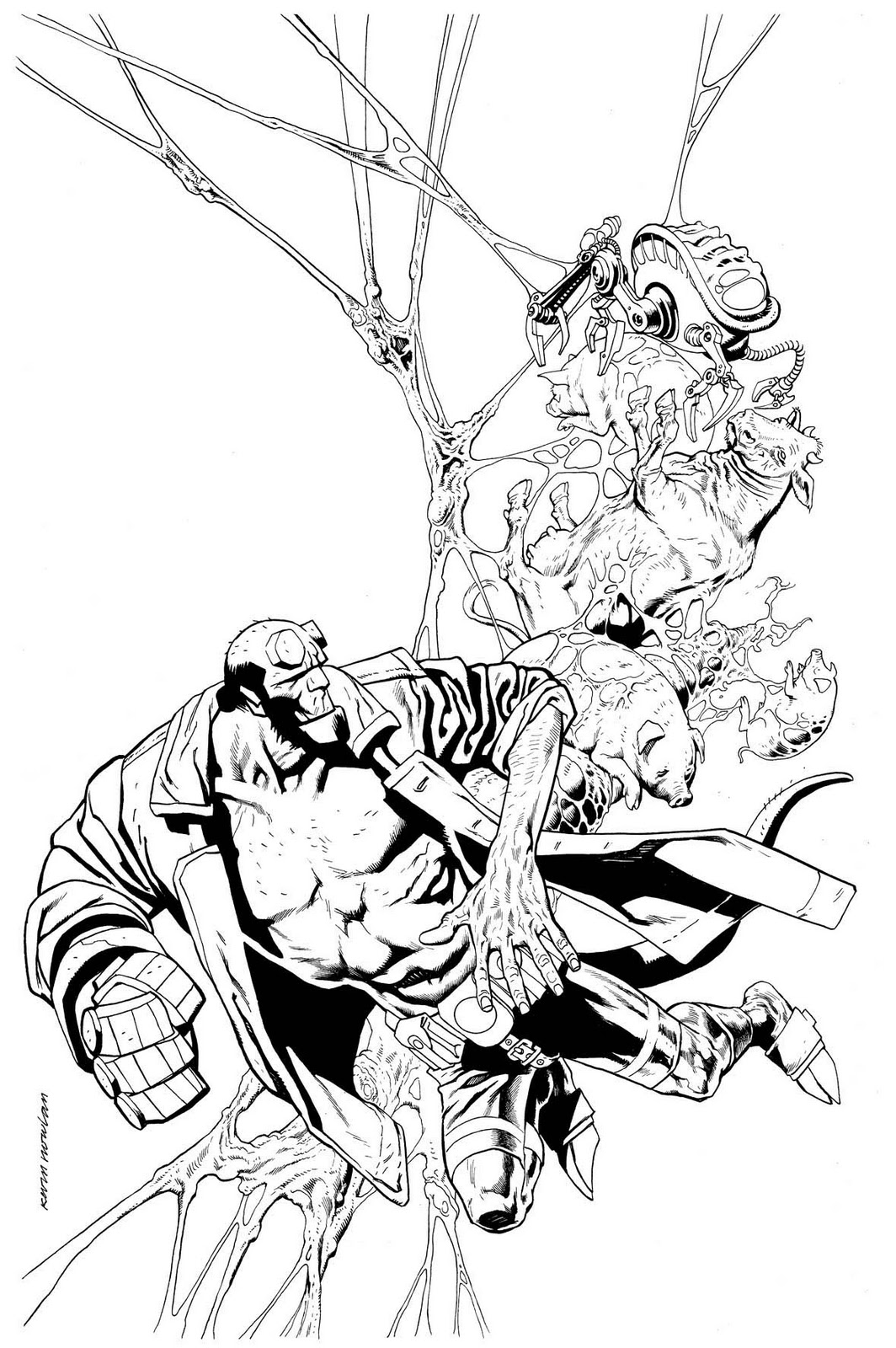 hellboy coloring pages - kevin nowlan hellboy cover thumbnail sketch to inks