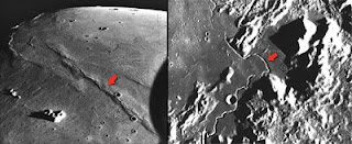 شاهد الشقوق على سطحه والتي يعتقد أنها آثار لأنهار من الحمم كانت تسري على سطح القمر كما تقول ناسا