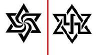 رمز حركة الرائيليين ، السابق إلى اليمين والحالي إلى اليسار