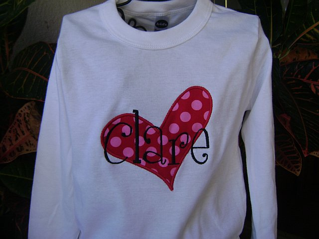 Sew Cute Creations Personalized Valentine Shirts