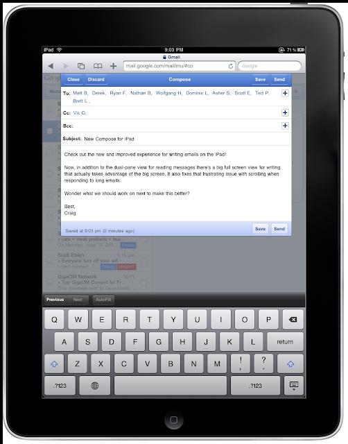 Neuer Google Mail Editor für das iPad