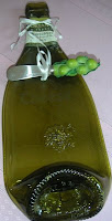Green recycled bottle cheese server