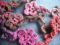 Flower and Leaf crocheted Vine Scarf