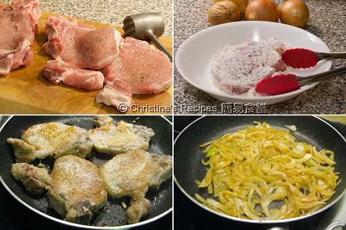 焦糖洋蔥焗豬扒製作圖 Baked Pork Chops with Caramelized Onion Procedures
