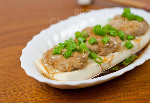 Steamed Tofu with Pork Mince