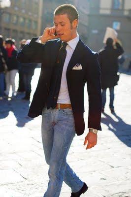 What To Wear Navy Blazer W Gold Buttons White Hankerchief Brown