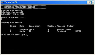 Visual C++ Program for the Implementation of Employee