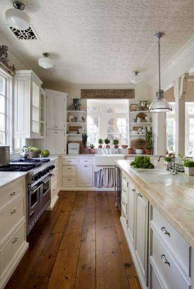 Dishfunctional designs embossed tin ceiling tiles for Country kitchen floor ideas