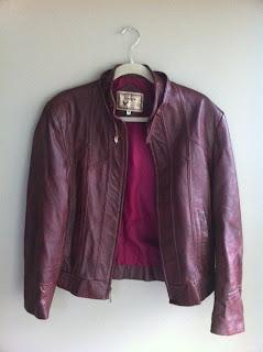 Maya Sciarretta Plum Coloured 80s Leather Jacket Guy Or Girl