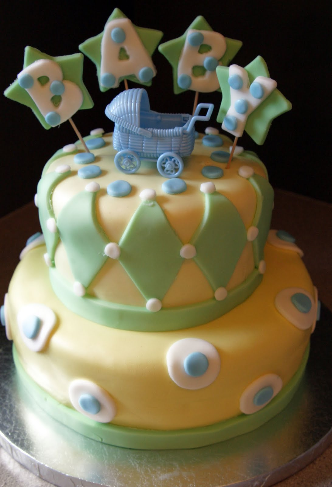 Tastefully Done Baby Boy Green And Yellow Cake Serves 30