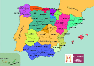 mapa de espanha com provincias Lugares de España.: Mapa de España (Provincias) mapa de espanha com provincias