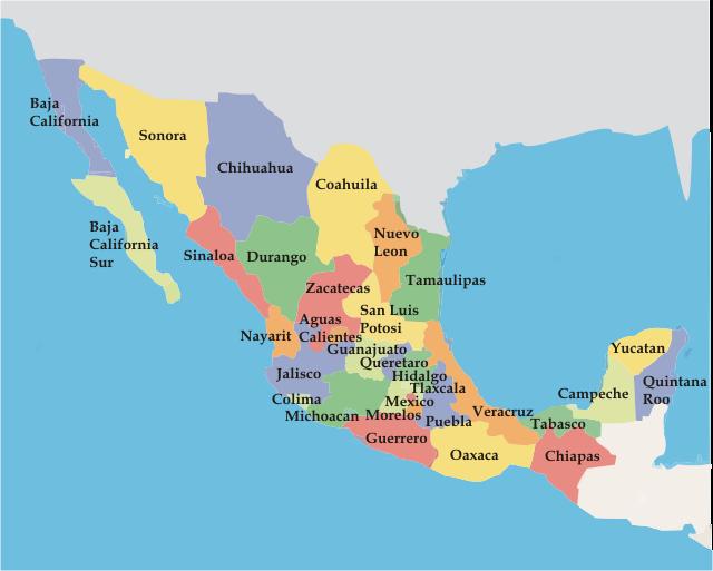 mapa mexico Mapa de los estados de México   Didactalia: material educativo mapa mexico