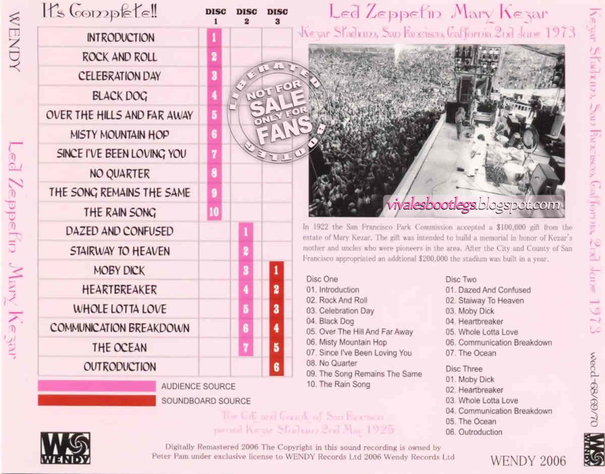 Led Zeppelin: Mary Kezar  Kezar Stadium, San Francisco, CA